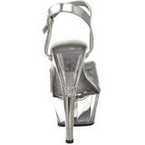 Prata Transparente 15 cm Pleaser KISS-209 Plataforma Salto Agulha