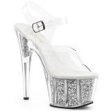 Prata brilho 18 cm Pleaser ADORE-708G sapatos de saltos pole dance