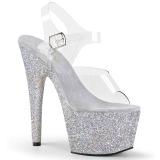Prata brilho 18 cm Pleaser ADORE-708HMG sapatos de saltos pole dance
