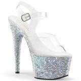 Prata brilho 18 cm Pleaser ADORE-708LG sapatos de saltos pole dance