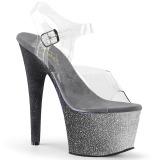 Prata brilho 18 cm Pleaser ADORE-708OMBRE sapatos de saltos pole dance