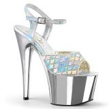 Prata brilho 18 cm Pleaser ADORE-709MMRS sandálias de saltos pole dance