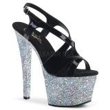 Prata brilho 18 cm Pleaser SKY-330LG sapatos de saltos pole dance