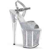 Prata brilho 20 cm Pleaser FLAMINGO-810G sapatos de saltos pole dance