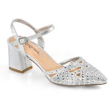 Prata brilho 7 cm Fabulicious FAYE-06 sandálias de salto alto mulher