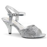 Prata brilho 8 cm BELLE-309G sapatos de travesti