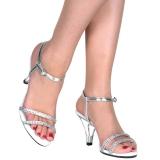 Prata pedra strass 8 cm BELLE-316 sapatos de travesti