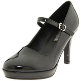 Preto 10 cm CONTESSA-50 Mary Jane Scarpin Sapatos Altos