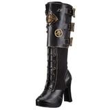 Preto 10 cm CRYPTO-302 plataforma botas mulher com fivelas