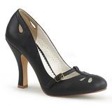 Preto 10 cm SMITTEN-20 Pinup sapatos scarpin com saltos baixos