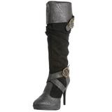 Preto 11,5 cm CARRIBEAN-216 plataforma botas mulher com fivelas