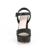 Preto 11,5 cm CELESTE-09 sandálias com salto grosso brilhantes