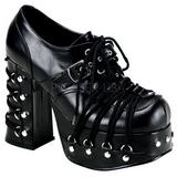 Preto 11,5 cm CHARADE-35 sapatos lolita calçados gotico mulher solas grossas