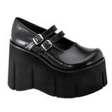 Preto 11,5 cm KERA-08 sapatos lolita gotico calçados cano alto cunha