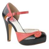 Preto 11,5 cm retro vintage BETTIE-17 Pinup sapatos scarpin de plataforma oculta