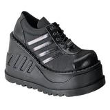 Preto 12,5 cm STOMP-08 sapatos de cunha plataforma góticos