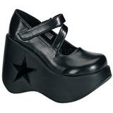 Preto 13,5 cm DYNAMITE-03 sapatos de cunha plataforma góticos