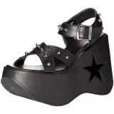 Preto 13 cm Demonia DYNAMITE-02 sandálias de cunha plataforma