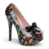 Preto 14,5 cm Burlesque TEEZE-12-4 calçados femininos com salto alto