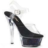 Preto 15 cm KISS-208GF brilho plataforma sandálias mulher