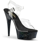 Preto 15 cm Pleaser DELIGHT-608MG sapatos de salto alto brilho