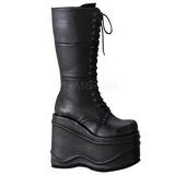 Preto 15 cm WAVE-302 botas de mulher plataforma góticos