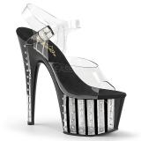Preto 18 cm ADORE-708VLRS Plataforma sapatos de salto com strass