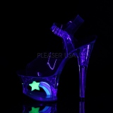 Preto 18 cm MOON-708RSS Neon plataforma salto alto mulher