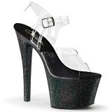 Preto 18 cm Pleaser SKY-308MG sapatos de salto alto brilho