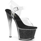 Preto 18 cm SKY-308G-T brilho plataforma sandálias mulher
