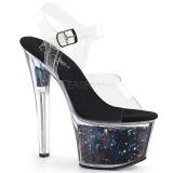Preto 18 cm SKY-308GF brilho plataforma sandálias mulher