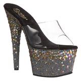 Preto 18 cm STARSPLASH-701 Estrela Plataforma Sapatos Mule Altos