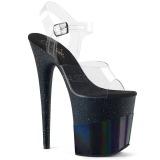 Preto 20 cm FLAMINGO-808-2HGM brilho plataforma sandálias mulher