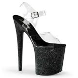Preto 20 cm Pleaser FLAMINGO-808MG sapatos de salto alto brilho