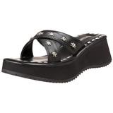 Preto 6,5 cm FLIP-05 Plataforma Goticas Sandálias Dedo Mulheres