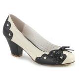 Preto 6,5 cm retro vintage WIGGLE-17 Pinup sapatos scarpin com salto grosso