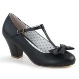 Preto 6,5 cm retro vintage WIGGLE-50 Pinup sapatos scarpin com salto grosso