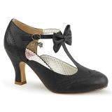 Preto 7,5 cm FLAPPER-11 Pinup sapatos scarpin com saltos baixos