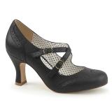 Preto 7,5 cm retro vintage FLAPPER-35 Pinup sapatos scarpin com saltos baixos