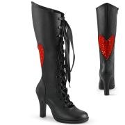 Preto 9,5 cm GLAM-243 bota com cadarço e salto mulher
