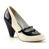 Preto 9,5 cm POPPY-18 Pinup sapatos scarpin com saltos baixos