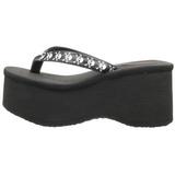 Preto 9 cm FUNN-17 Plataforma Goticas Sandálias Dedo Mulheres