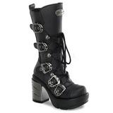 Preto 9 cm SINISTER-203 plataforma botas mulher com fivelas