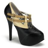 Preto Bege 14,5 cm TEEZE-24 calçados femininos com salto alto