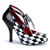 Preto Branco 10,5 cm HARLEQUIN-03 calçados femininos com salto alto
