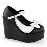 Preto Branco 13 cm POISON-04 Sapato Scarpin Cunha Alto