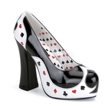 Preto Branco 13 cm POKER-21 calçados femininos com salto alto