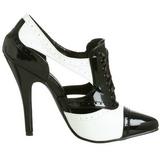Preto Branco 13 cm SEDUCE-458 Oxford calçados femininos com salto alto