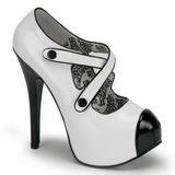 Preto Branco 14,5 cm TEEZE-23 calçados femininos com salto alto
