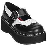 Preto Branco 5 cm EMILY-302 sapatos lolita gotico mulher solas grossas